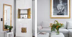 Kakelugn i vardagsrummet på plan två i Galatea 1, Sven Vintappares gränd 2.