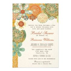 DON'T FORGET - CLICK ON THE LARGER IMAGE TO GET PRICING INFORMATION AND LEARN HOW YOU CAN CUSTOMIZE THIS FOR YOUR EVENT!  Rustic Country Floral Bridal Shower Aqua Orange Personalized Announcements
