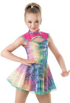 Weissman™ | Rainbow Foil Vinyl Skirt Dress