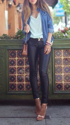 leather, chambray, gold