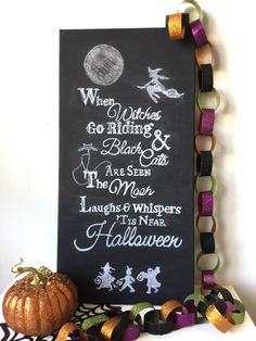 DIY Halloween Chalkboard Wall Art