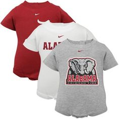 Nike Alabama Crimson Tide Infant 3-Pack Creeper Set - Crimson-White-Ash