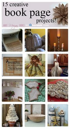 FIFTEEN Book Page Crafts all in one place! @hometalk