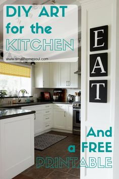 "Create DIY Kitchen Art with chalkboard paint, transfer paper, paint markers, and some 8""x10"" boards. The DIY kitchen Art Free Printable makes it easy to complete."