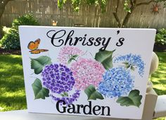 Garden signhand painted custom ordered personalized flowers
