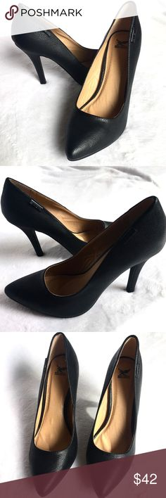 BRAND NEW Black High Heel Pumps BRAND NEW without box. Pristine condition, never worn. high heel Pumps Shoes. - Elegant construction - Black color  - 4 and 1/2 inches heel height - Closed Toe - Brand Metal accent Reasonable offers considered but no lowballing please. Bundle 2+ items for additional discounts and to pay just one shipping charge. Shiekh Shoes Heels