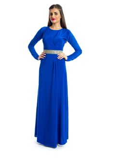 Spark up your style with this blend of modern and traditional look with this creation by Xela! It features a royal blue maxi dress with sheath silhouette and a gold detailed sash-strap knotted belt on the waist to bring out that casual yet stylish look. This dress makes an ideal choice for social gathering.