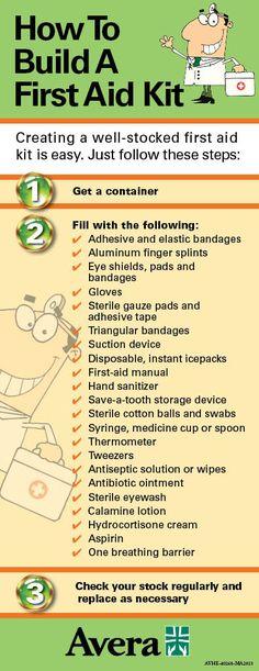 Be prepared! Follow this list to create a first-aid kit. #Avera