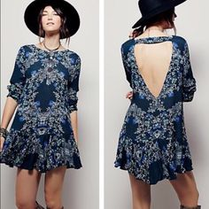 FREE PEOPLE DRESS Blue dress from Free People! Has a drop waist and beautiful open back. I love it but unfortunately it's just too short for me :( bought it retail here on Posh and am just trying to sell it for what I bought it for! Enjoy  Free People Dresses