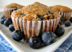 Low-Fat High Fiber Blueberry Bran Muffins from Food.com:   								These muffins are a great low-fat moist muffin.  I used 1/2 cup brown sugar instead of the 2/3 cup called for and I felt they were sweet enough.  I also added chopped apples.
