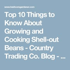 Top 10 Things to Know About Growing and Cooking Shell-out Beans - Country Trading Co. Blog - Heirloom Gardener