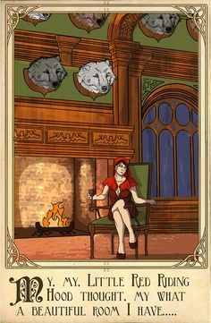 fairy tales: woman sitting by fire illustration. Little Red Riding Hood Charlie Chaplin, Charles Perrault, Classic Fairy Tales, Twisted Disney, Fairytale Art, Fairytale Fantasies, Red Hood, Fairy Godmother, Red Riding Hood