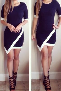 Black and White Asymmetric Dress - Black