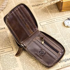 RFID Antimagnetic Vintage Genuine Leather 11 Card Slots Coin Bag Trifold Wallet For Men Cowhide Bag, Coin Bag, Gold Shoes, Rfid Wallet, Things To Buy, Luggage Bags, Leather Bag, Leather Wallets, Zip Around Wallet