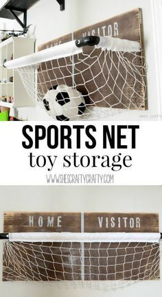 [orginial_title] – Kids Room Ideas Sports net: toy storage for boys room, playroom or any room. Great DIY instructions to make this yourself! Sports net: toy storage for boys room, playroom or any room. Great DIY instructions to make this yourself! Ball Storage, Toy Room Storage, Outdoor Toy Storage, Toy Room Organization, Boys Room Decor, Bedroom Boys, Bedroom Ideas, Sports Room Decor, Boys Room Design