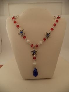 Red White & Blue Crystal Necklace w/ Silver Stars by DeluxeAGoGo, $18.00