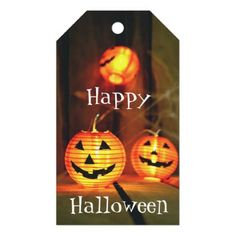 Orange Halloween Jack-O-Lanterns Gift Tags - photography gifts diy custom unique special