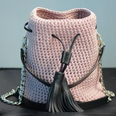 Crochet Bucket Bag ɕ powder pink bag ɕ summer by Sevirikamania