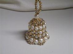 SALE Vintage Beaded Bell Christmas Ornament  Fancy Gold Pearls Regency