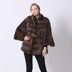 Real Mink Coat Fashion Winter Genuine Mink Fur Coat For Women Fur Jacket With Real Leather Sheepskin Belt Brown Natural Fur Coat