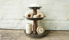 Knick of Time: Repurposed Bread & Cake Pans/ done with pie tins and a table leg