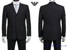Costume à un Bouton Armani Homme Soldes Noir