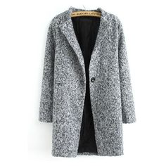 Single Button Tweed Coat (41 AUD) via Polyvore featuring outerwear, coats, romwe, jackets, tweed wool coat and tweed coat
