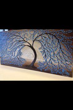 Palette Knife Textured Tree Painting by Angela Williams aka Angi Hampton