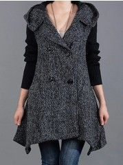 Breasted Asymmetrical Hems Alluring Hooded Assorted Colors Overcoats