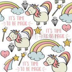 Doodle seamless pattern with unicorns and other fantasy magical elements. Vector Pattern, Pattern Design, Free Vector Images, Vector Free, Vector Design, Graphic Design, Mythical Creatures, Fairy Tales, Royalty