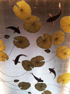 Japanese Style Murals On Gilded & Antiqued Leaf - Henry Van Der Vijver Koi Painting, Japanese Painting, Stencil Painting, Koi Wallpaper, Painting Wallpaper, Ceiling Murals, Wall Murals, Japanese Wall, Japanese Style