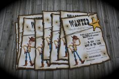 Saddle up and ride on over with these fun Toy Story themed invitations. Perfect for any age. Listing/price is for 1 invitation. Contact me for a reserved listing with the quantity of invites needed. *This is NOT a digital file *Each invite measures 6 3/4 x 5 1/2 comes with an envelope.
