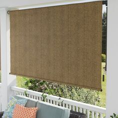 """Coolaroo Outdoor Roller Shade Size: 48"""" W x 96"""" L, Color: Walnut Outdoor Patio Shades, Porch Shades, Outdoor Curtains, Outdoor Blinds, Hanging Curtains, Outdoor Chairs, Blackout Roman Shades, Solar Shades, Backyard Retreat"""