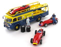 The Fiat 642RN Bartoletti Transporter together with the 3 Maserati 250F Race Cars of Jean Behra - Juan Manuel Fangio - Harry Schell.