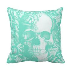 Mint and white lace skull with roses throw pillows