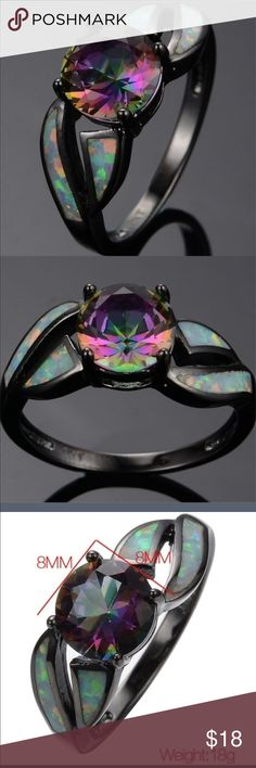 Mystic Rainbow Topaz/Fire Opal Ring This ring is so pretty and a best seller. I have one left. NWOT Never worn It is 10k gold filled. Jewelry Rings