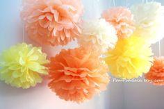 "PomPomSale Brand ""Sunshine"" 8 Tissue Paper Pom Poms - Wedding / Baby Shower / Birthday Party / Nursery Decor PomPomSale http://www.amazon.com/dp/B00FGYFWDU/ref=cm_sw_r_pi_dp_ayO3tb1K0SYGTDS7"