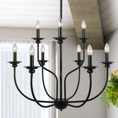"""LALUZ 9 Lights French Country Metal Chandelier 2-Tier Dining Room Fixture in Painted Black Finish, Vintage, 30"""" for Large Kitchen Island"""