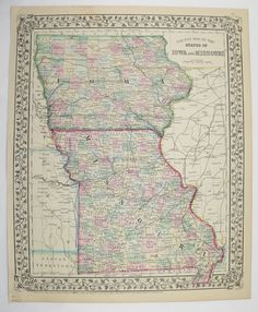 Antique Iowa Map Vintage Old Map Of Iowa East Nebraska Map Original - Vintage iowa map