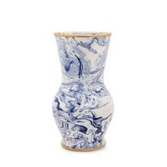 Blue Marbleized Clay Morphic Vase - null Visit AERIN.com to explore the full collection.