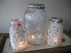 Doily wrapped jar