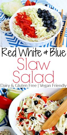 This healthy and easy RED, WHITE & BLUE Slaw Salad is the perfect addition to any summer BBQ. A gluten free, dairy free, and clean eating coleslaw recipe! Gluten Free Coleslaw Recipe, Gluten Free Recipes, Healthy Recipes, Salad Dressing Recipes, Pasta Salad Recipes, Roasted Cabbage, Veggie Tray, Salad Ingredients, Food Themes
