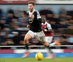 Southampton's Adam Lallana shows his speed at Upton Park