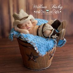 Cowboy/Cowgirl Photography 3 Pce. set - Handmade Crochet Cowboy Hat, Diaper Cover and Boots Newborn to 12 Mos.