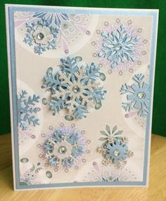 Handmade Snowflake Greeting Card-Holiday/Winter Handmade Blank Card with Snowflakes-Shimmer White and Purple or Blue by TreasureIslandCards on Etsy