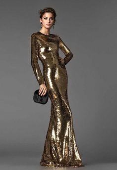 Dolce Gabbana Fall 2013 golden evening gown