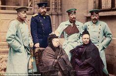 Back row: Prince Arthur, Prince Alfred, Kaiser Wilhelm II, Prince Edward. Sitting Queen Victoria, Princess Beatrice