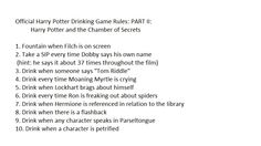 Official Harry Potter Drinking Game: PART II