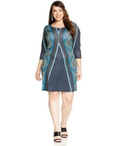 NY Collection Plus Size Printed Shift Dress Fashion is for Plus Size Gals too http://uk.shop.com/Clothes/A+plus+size?i=5&k=60&nover=