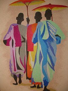 Caminhada - Quadro de areia colorida - de Carla Seno Figueredo.